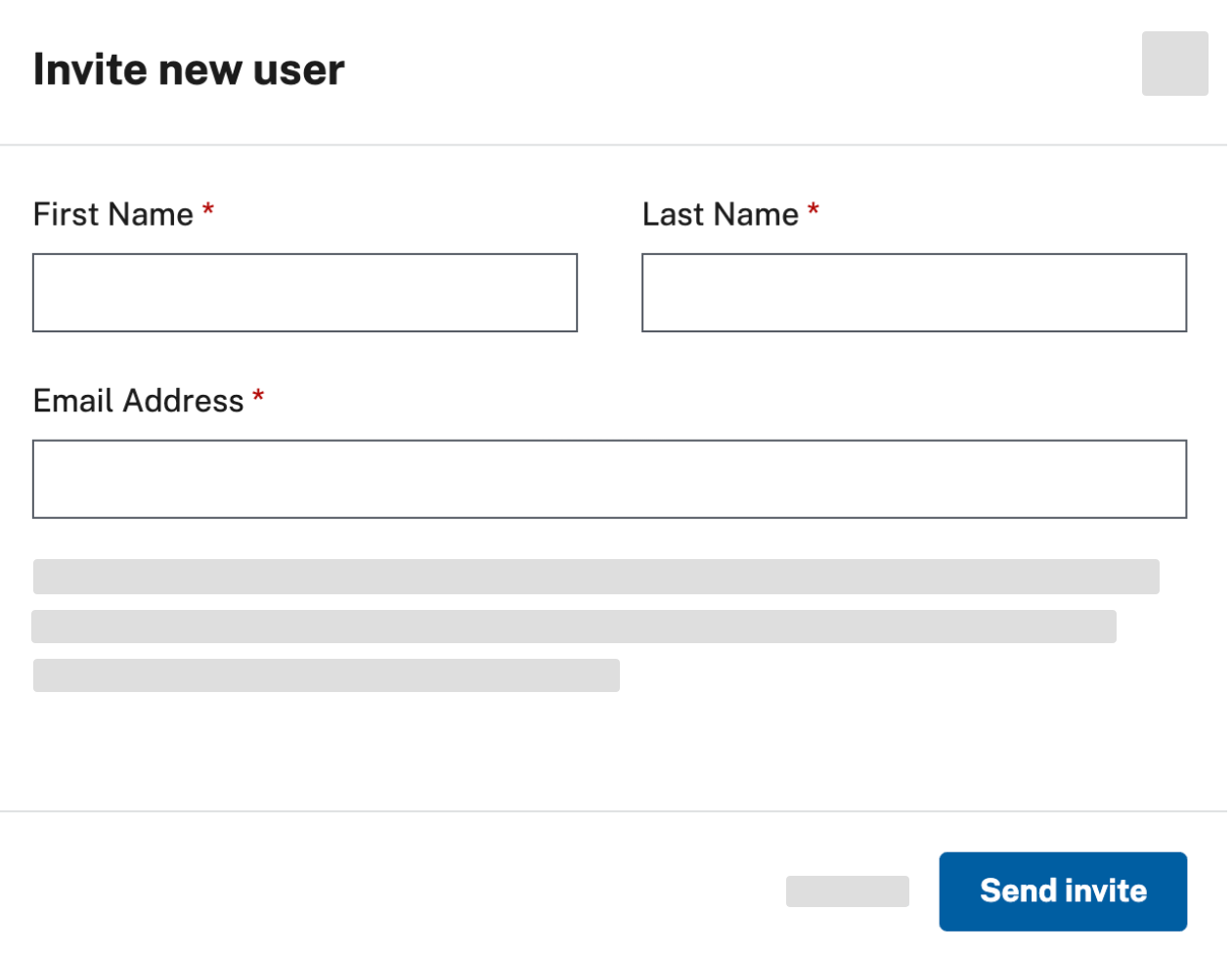 "Fields for the user's first name, last name, and email address, along with the blue ""Send invite"" button"