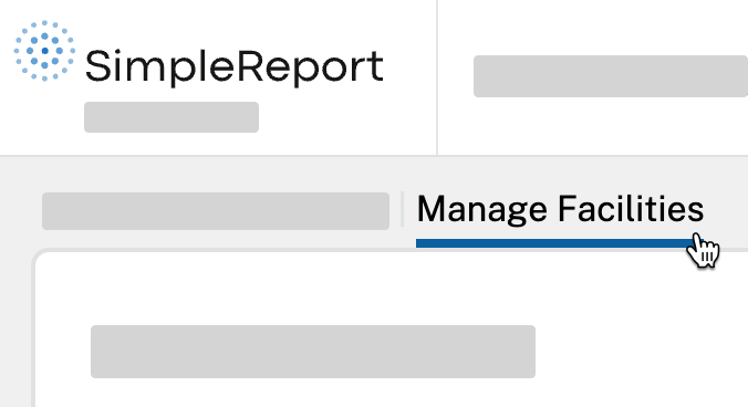 "The ""Manage Facilities"" tab selected in SimpleReport"